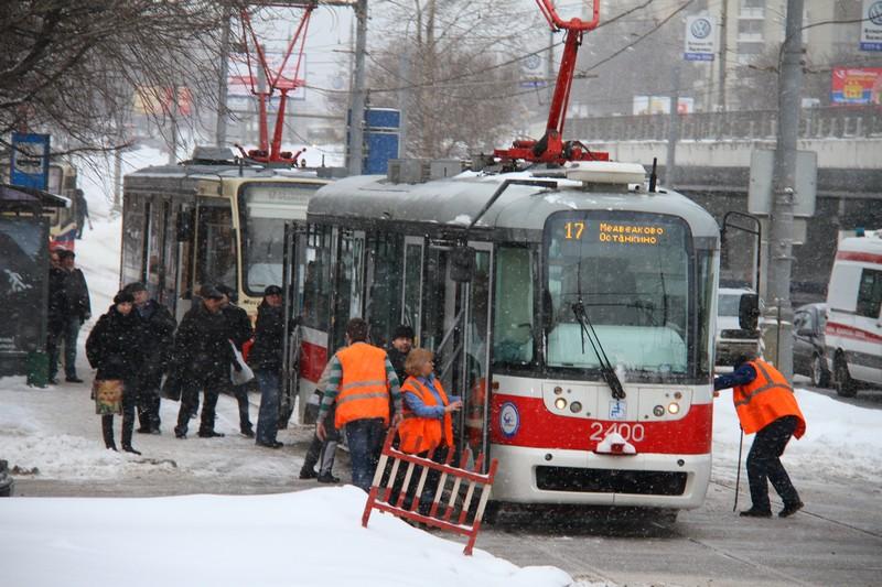 6 февраля приостановилось движение трамваев на Варшавском шоссе