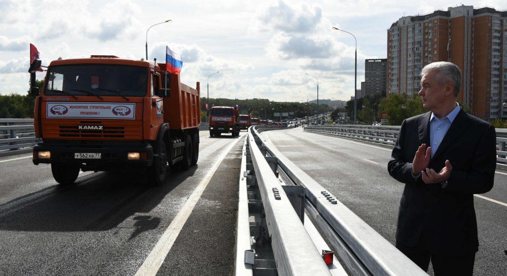 Собянин открыл эстакаду на Липецкой улице