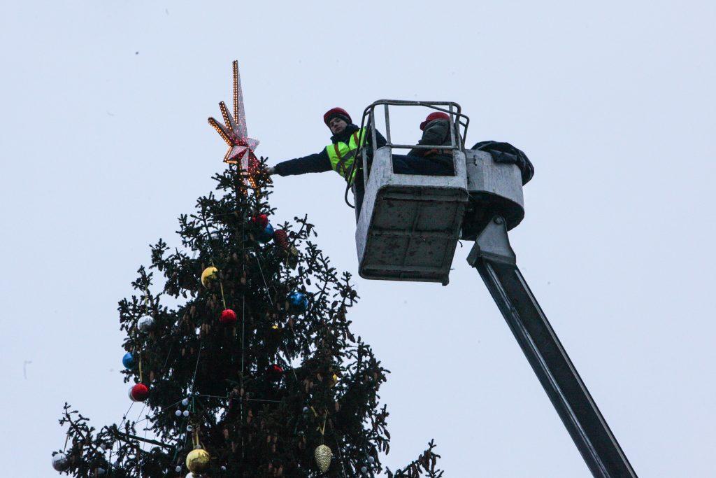Новогоднюю ель установили на улице Подольских Курсантов