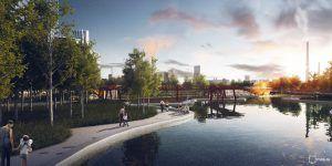Так будет выглядеть парк «ЗИЛ». Здесь появятся пешеходные и велодорожки, 700 деревьев, 2500 кустарников и 50 тысяч квадратных метров газона. Парк будет иметь выход к Москве-реке и станет украшением Южного округа столицы (проект)
