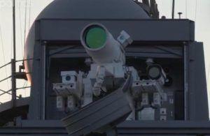 Система лазерного оружия (LaWS) была размещена на транспорт-доке USS Ponce. Фото: Скриншот