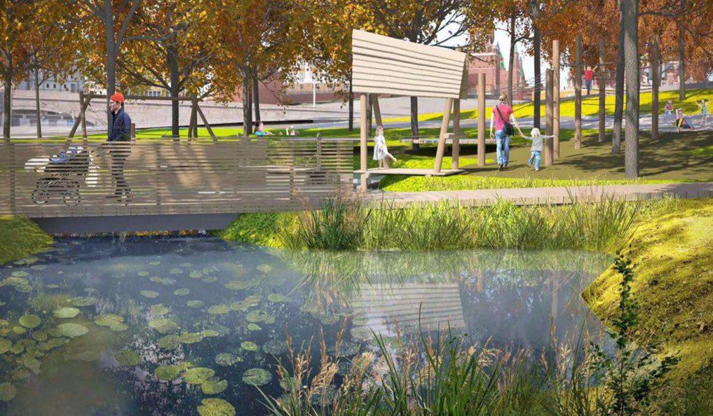 Создание искусственных водоемов в парке «Зарядье» практически завершено