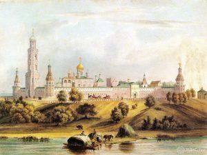 Картина XIX века. Симонов монастырь, художник Л. Бишбуа. Фото из акварельного альбома «Виды Москвы» 1846 года