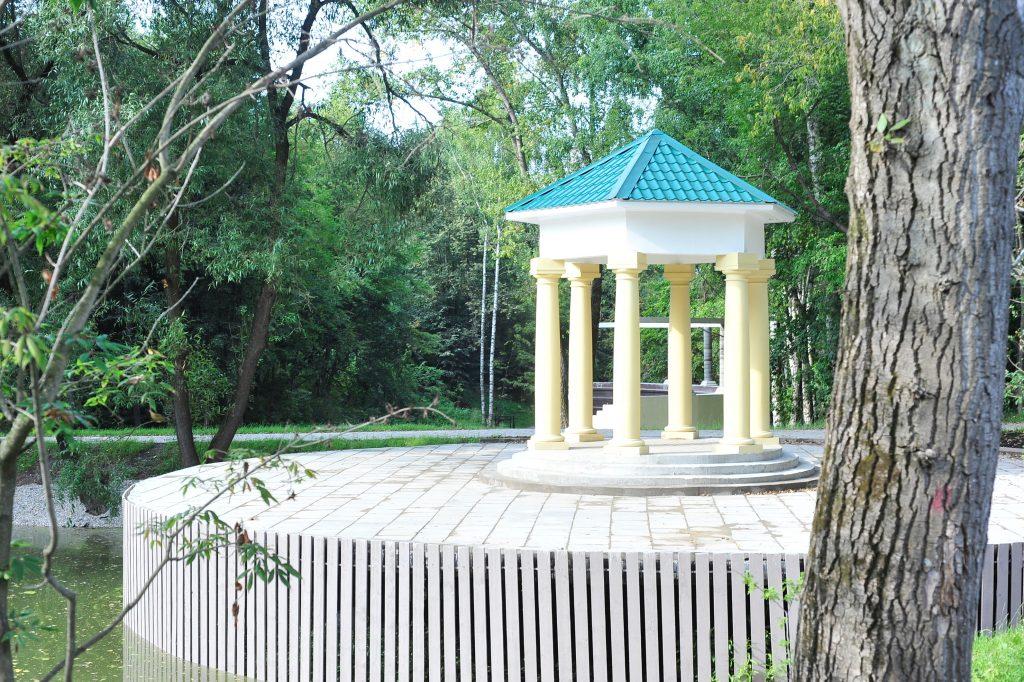 Беседка на окраине Бюрюлевского парка, на пруду. Фото: Пелагия Замятина