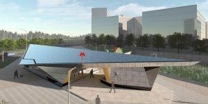 Металлическая конструкция наземного вестибюля станции «Ольховая» будет выполнена в форме бумажного самолетика. Фото: mos.ru