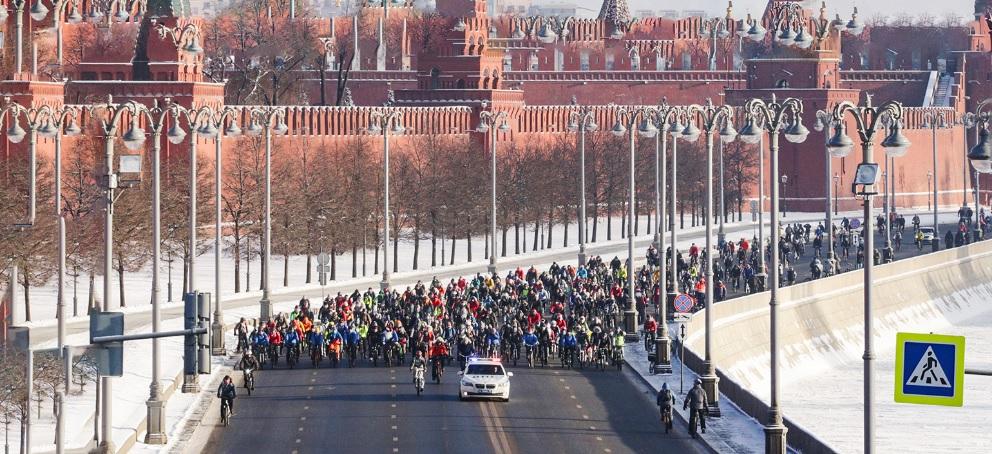 Зимний велопарад ограничит движение в центре Москвы