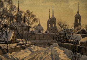Картина «Январский день в селе Быково» Сергея Андрияки, 2010 год, акварель