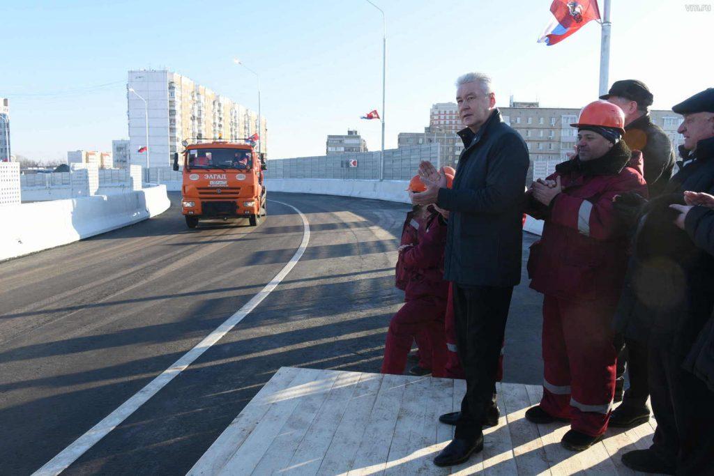 Собянин открыл эстакаду через Варшавское шоссе в Щербинке