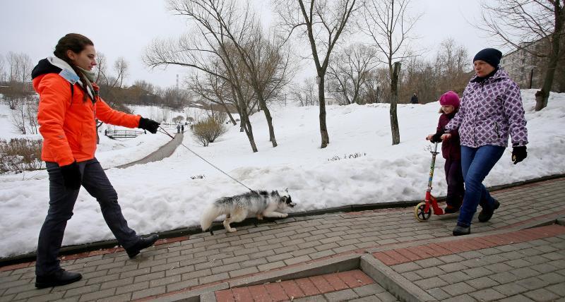 1 апреля 2018 года. Евгения Флюрова (на фото слева) гуляет с Лисом Мигелем по Покровскому парку. Фото: Антон Гердо, «Вечерняя Москва»