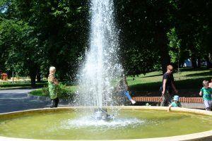 После благоустройства здесь установили детские и спортивные площадки, а центр зоны отдыха украсил фонтан. Фото: Пелагия Замятина
