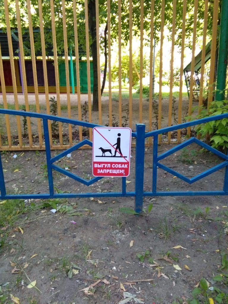 Чтобы собачники прекратили выгуливать питомцев на территории, здесь поставили предупреждающий знак. Фото: Пелагия Замятина