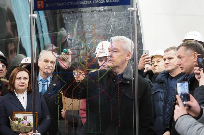 Собянин осмотрел ход строительства станции «Ржевская» БКЛ метро
