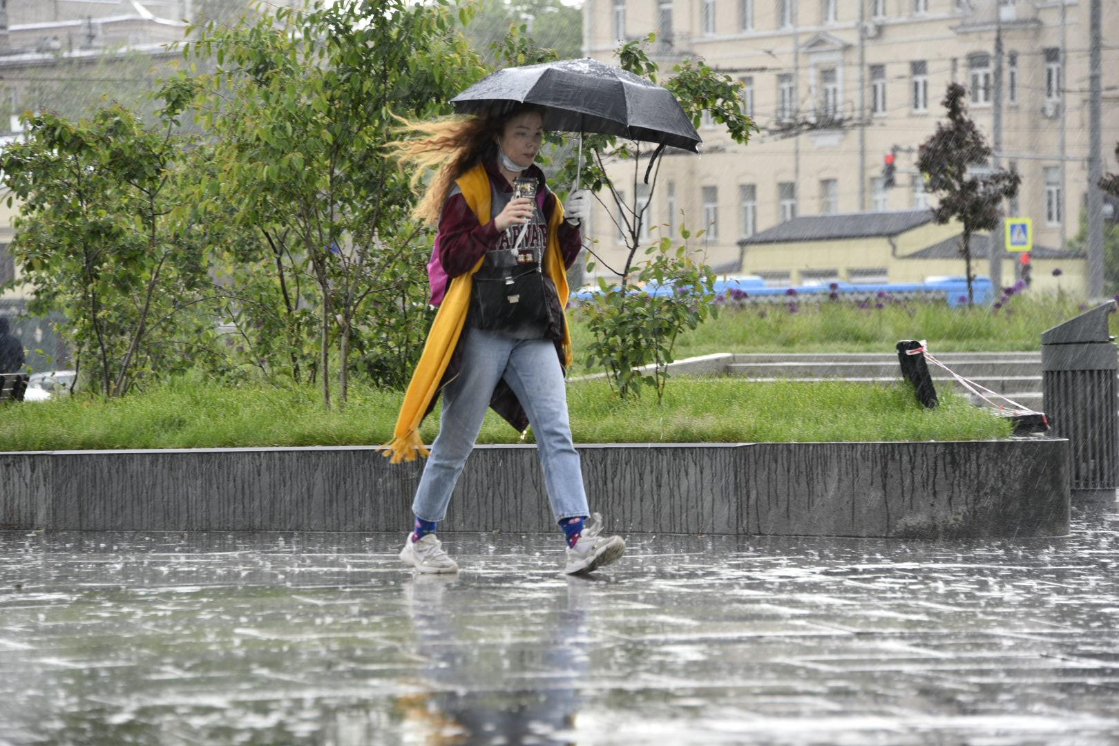 Дожди и сильный ветер сохранятся в Москве