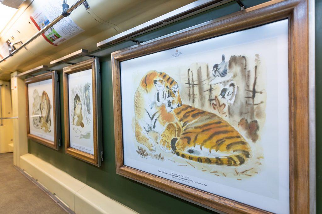 Картины в одном из вагонов. Фото предоставили сотрудники пресс-службы Дарвиновского музея