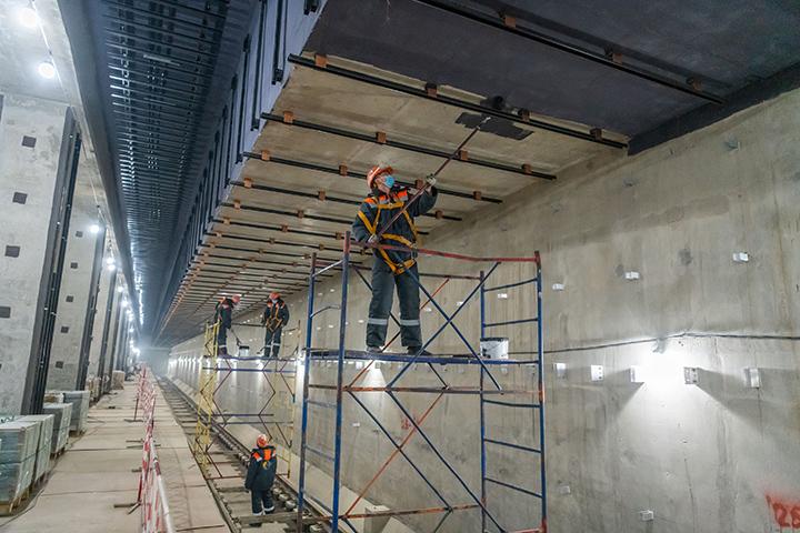 Строительная готовность южного участка Большой кольцевой линии метро составляет 87 процентов